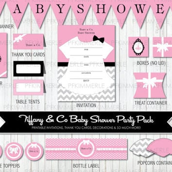 Baby & Co. - Baby Pink Tiffany Inspired Baby Shower Party Pack Bundle