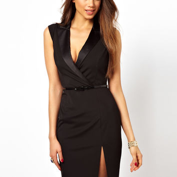 Lipsy | Lipsy Tuxedo Dress with Plunge Neck at ASOS