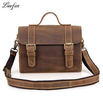 Men's crazy horse leather messenger bag vintage Cow leather Tote bag small casual crossbody bag Cowhide iPad handbags