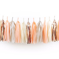 DIY Tissue Tassel Garland Kit - Peach - Champagne, Ivory, Blush, Copper, Rose Gold White Paper Room Wedding Shower Tassle Decor Balloon Tail