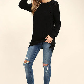Right Now Black Lace-Up Sweater