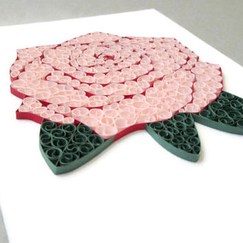 Rose Canvas Art, Paper Quilled Rose, Rose Wall Art, Gift For Women, Unique Gift, RedPink Flower, Paper Filigree, Rose Petal, Flower Wall Art