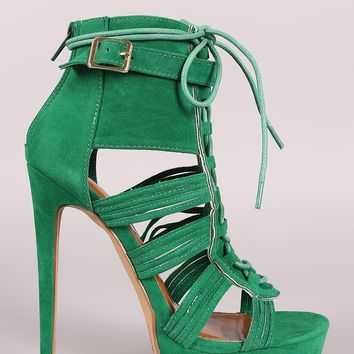Shoe Republic LA Suede Strappy Lace-Up Platform Heel