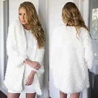Fuzzy White Cardigan - Women Long Sleeve Fur Cardigan Loose Sweater Outwear Jacket Coat Sweater Top