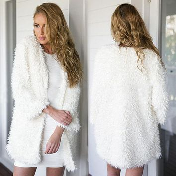Fluffy Shaggy Faux Fur Cape Coat