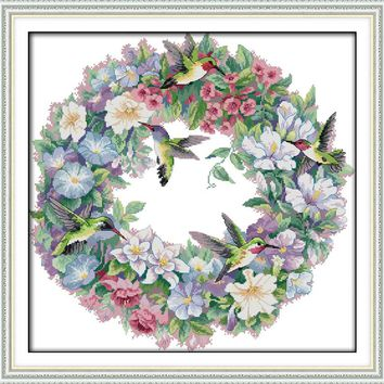 The art of hummingbirds(2) Animal cross stitch kits 14ct white 11ct printed embroidery DIY handmade needle work wall home decor
