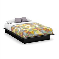 Queen Size Platform Bed Frame in Modern Black Wood Finish
