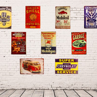 Vintage Metal Tin Garage & Workshop Signs