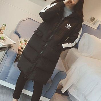 """Adidas"" Women Casual Hooded Long Sleeve Zip Cardigan Long Cotton Clothes Coat [2974244294]"