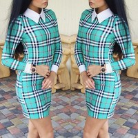 Green Plaid Print Bodycon Peter Pan Collar Skinny Pencil Cute Homecoming Party Mini Dress