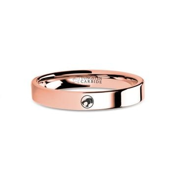 ThunderCats Logo Symbol Engraved Rose Gold Tungsten Wedding Ring