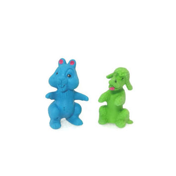 1960s Diener Toy Rubber Erasers,Blue, Chipmunk, Green Poodle, Vintage, Pencil Eraser, Collectible, Vintage Toy, School Supply