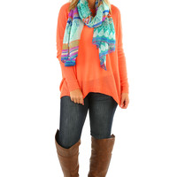 Keep It Cool Sweater: Neon Coral