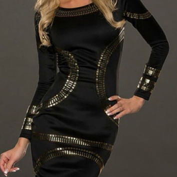 Black Metallic Sequined Long Sleeve Sheath Dress