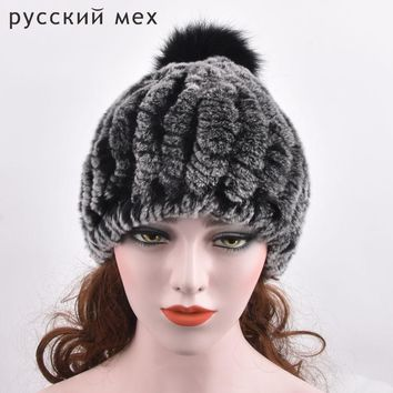 2017 New Design Real Rex Rabbit Fur Hats with  Fur Balls Women Casual Fur Beanies Top Quality Striped Fur Elasticity Caps