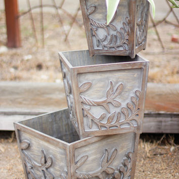 Set of 3 Wooden Planter Boxes with Carved Vine Design