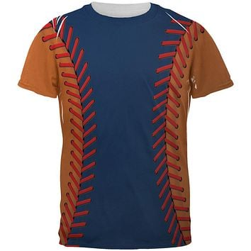 Baseball League Navy Blue and Orange All Over Mens T Shirt