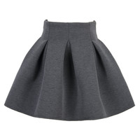 Gray Pleated Mini Skirt