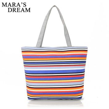 Mara's Dream Canvas Shopper Bag Striped Rainbow Prints Beach Bags Tote Women Ladies Girls Shoulder bag Casual Shopping Handbag