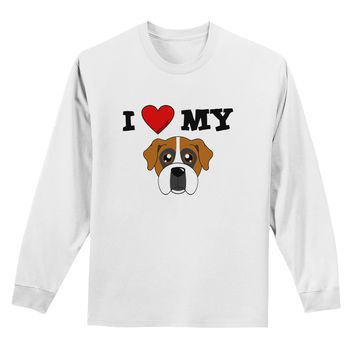 I Heart My - Cute Boxer Dog Adult Long Sleeve Shirt by TooLoud