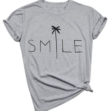 Smile Palm Tree Funny T-Shirt Women's