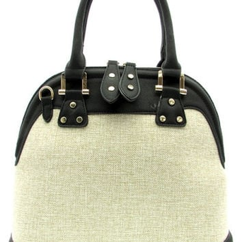 Black/Taupe Canvas Tote Bag