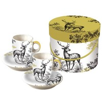 Paperproducts Design Toile Espresso Cup and Saucer, Set of 2