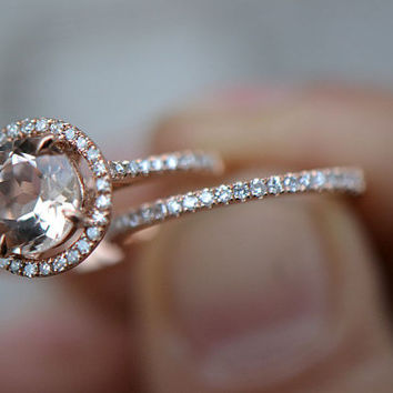 Two Rings Set! 8mm VS Halo  Morganite Ring 14K Rose Gold with  Diamonds engagement ring match band, Promise Ring