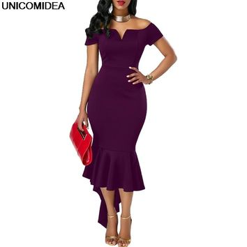 Sexy Off Shoulder Women Dress Robe Femme Slash Neck Fishtail Summer Party Dress Mermaid Bodycon Sheath Midi Dress Vestidos