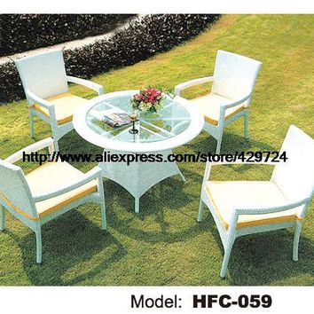 Modern Simple Style White Rattan Table Chair Set Classic Gardern Wicker Small Rattan Table 4 Chairs Leisure balcony Furniture