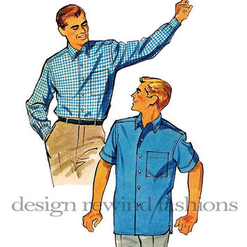 "1950s Men's Front Button Dress Shirts- Long/Short Sleeves, Button-Down Collar, Cuffs - McCalls 4866 Chest Size 34-36"" Vintage Sewing Pattern"