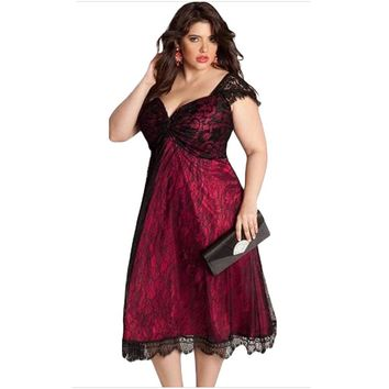Women's Summer Evening Party Dress Victorian Gothic Dress Casual Short Sleeve Lace V Neck Dress Plus Size Vestidos