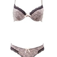 Gray Combo Lace Print Bra & Thong Set by Charlotte Russe