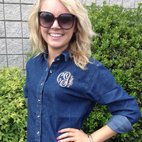 Monogrammed Ladies Long Sleeve Ink Blue Denim Shirt
