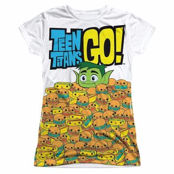 Teen Titans Go! Beast Boy Burgers DC Comics Sublimation Junior T Shirt