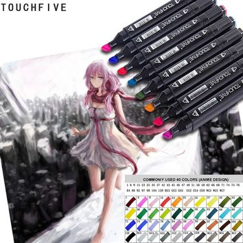 TOUCHFIVE Anime Art Marker Double Head Art stationery Soluble Colored Copic Sketch Marker Brush Pen For Drawing Design  40 color