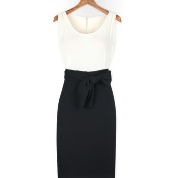 Color Block Tie-Waist Midi Dress