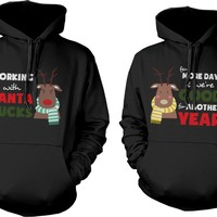 Cute X-Mas Couple Hoodies - Mr and Mrs Rudolph Couple Matching Sweatshirts