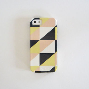 Modern iPhone case triangle mountain iPhone 4/4s case iphone 5 case Pattern blue gray yellow pink geometric redtilestudio