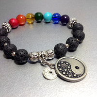 Seven Chakras Prayer Beads, Black Lava Stone, Semi Precious Gemstones with Silver Colored Yin Yang Lucky Coin , Perfect Gift