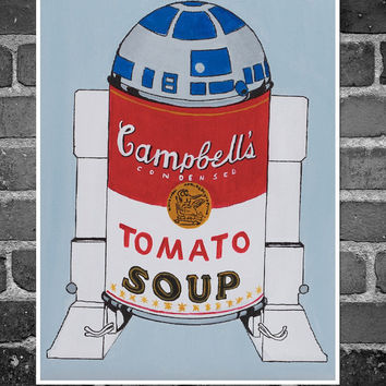 "Poster 12""x16"""", laser print of my original painting: ""R2D2 Campbell's soup can"", Warhol's masterpiece parody, star wars inspired"