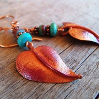 COPPER LEAVES and Turquoise Earrings | HeartofaCowgirl - Jewelry on ArtFire