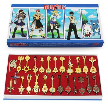 Fairy Tail Lucy 26pcs/set Cosplay Figure Key Keychain Scale & Free Pink Tattoo Heartfilia sign of the zodiac gold Key Doll