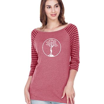 White Tree of Life Circle Striped Contrast 3/4 Sleeve Tee