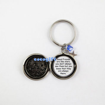 Good Friends are like stars quote keychain, star locket keychain,  BFF gift, best friend gift, long distance friendship key chain