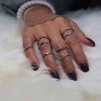 Vintage Silver Stack Band Midi Finger Above Knuckle Rings