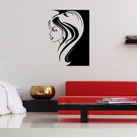 Wall Vinyl Sticker Decals Decor Mural Tattoo Hot Sexy Girl Side Face Great Salon Window Sign 1235
