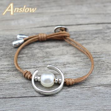 Anslow Brand New Design Fashion Jewelry Sweet Handmade Sea Shell Genuine Leather Bracelet For Women
