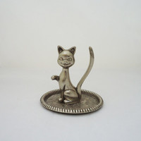 Vintage Silver Plated Cat Ring Holder, Smiling Cat Ring Holder, Silver Plated Cat Jewellery Storage
