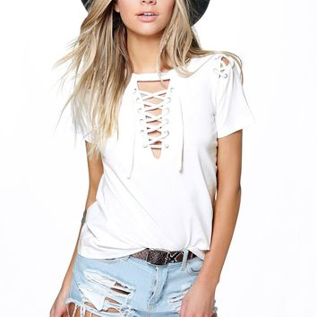 Megan Lace Up Neck + Shoulder Tee